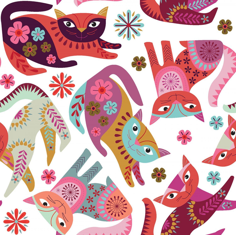 *White Stitch Cats  - Y2580-01