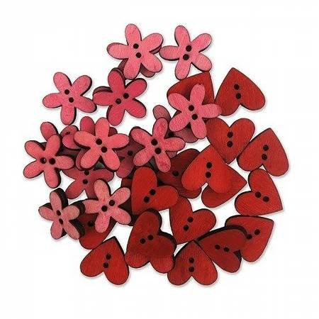 Wood Pink Flowers & Hearts