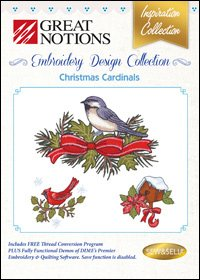 GreatNotions Christmas Cardinals Embroidery Design Collection
