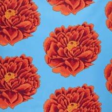 Full Bloom Orange on Blue 108 Cotton Sateen