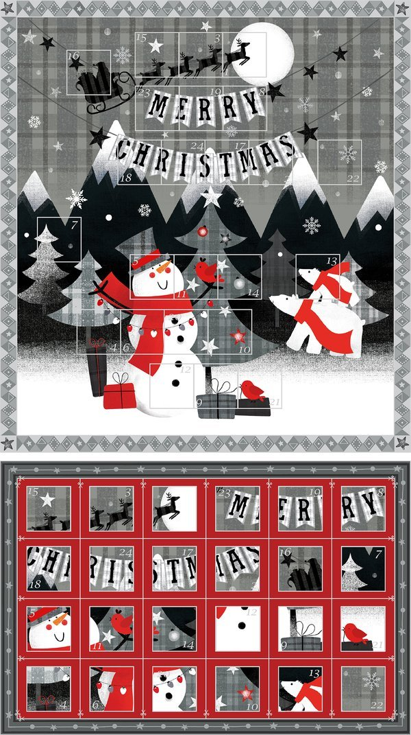 Red + Grey Christmas 11418-65091 advent panel