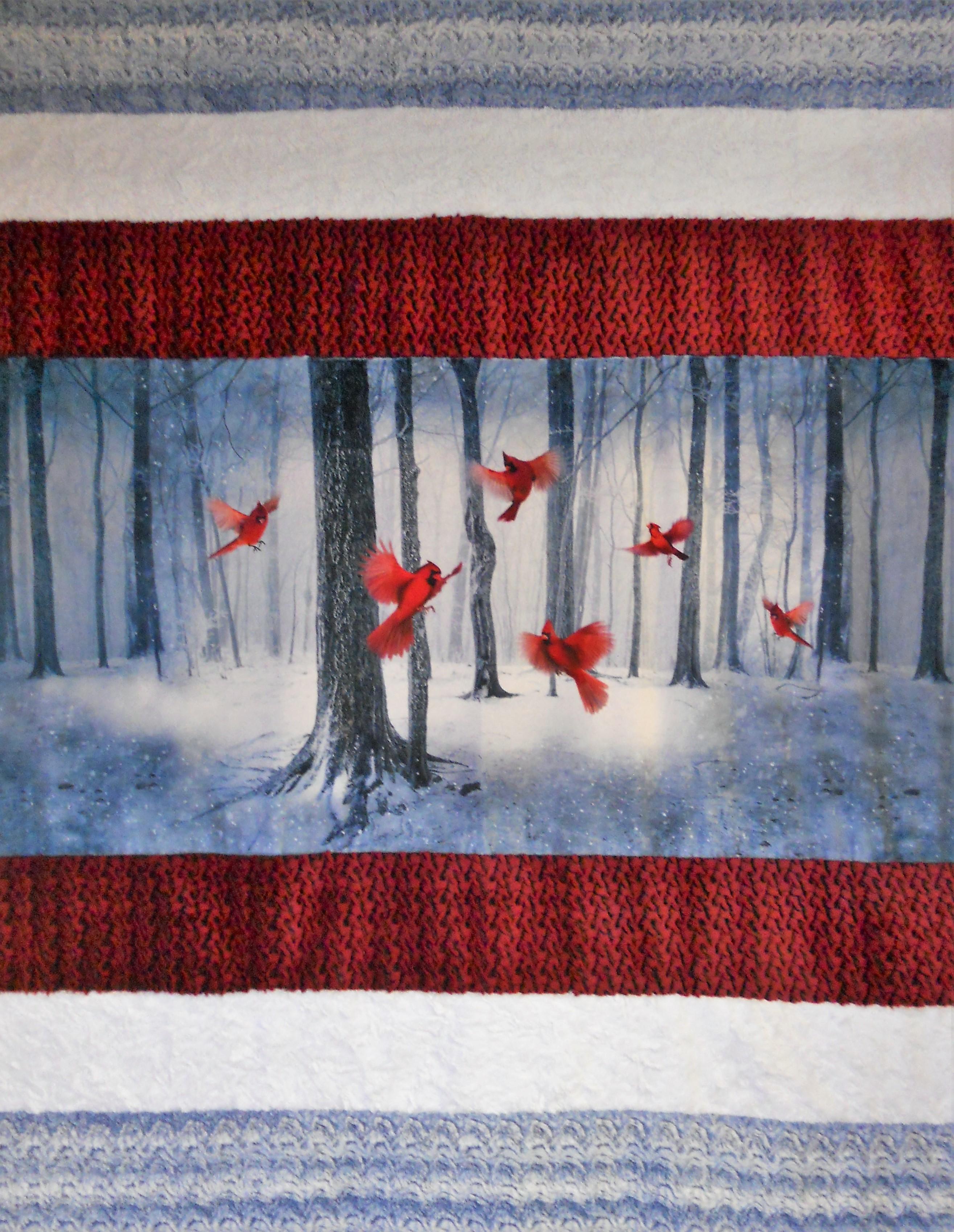 Kit- Cardinal Winter Plush Throw