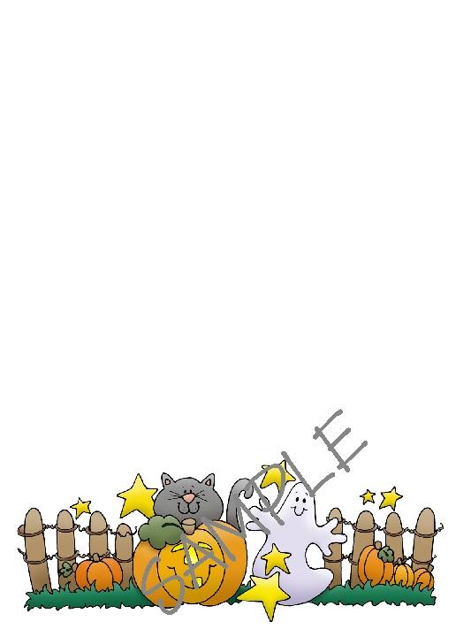 Quilt Label-cat ghost pumpkin