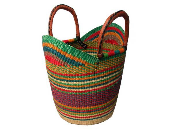 African Basket-Shopping Tote w/ Leather Handle