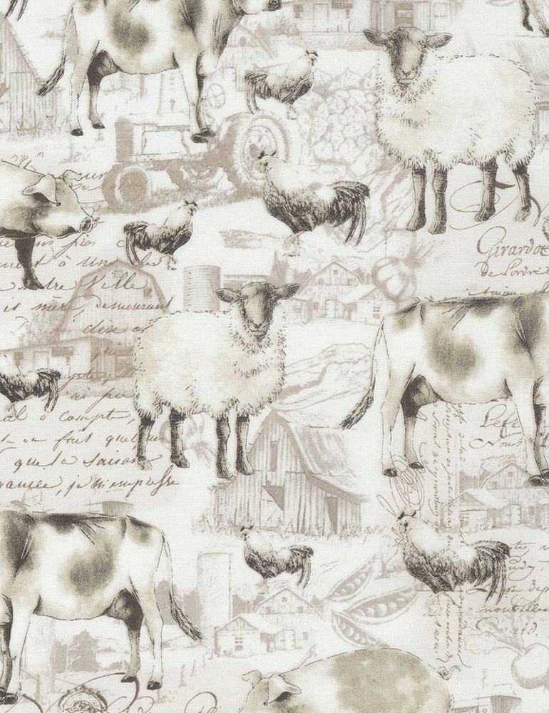 farm animal toile Ruth-C5482-Cream