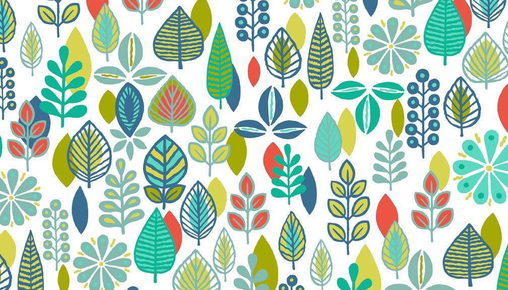 Makower - Modern Retro 1841/T Foliage Turquoise