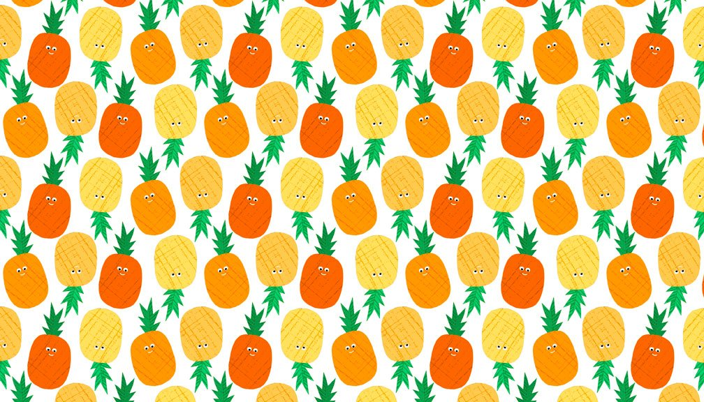 Makower - Fruity Friends - 1941/N Pineapple Orange -
