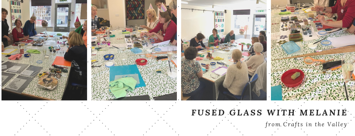 Fused Glass workshop in The Quilt Cabin Studio at Hebden Bridge