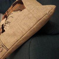 Mixed media rabbit cushion