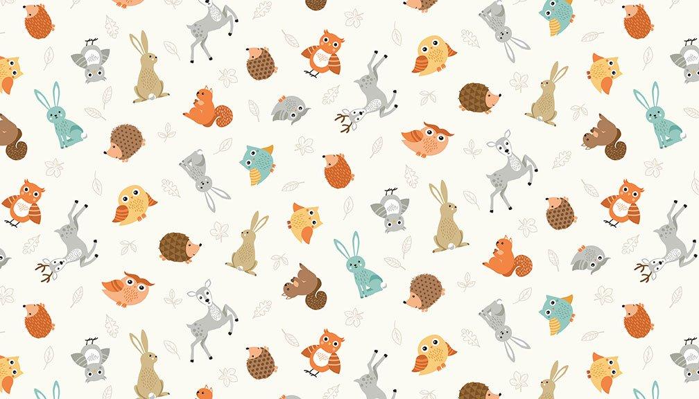 Makower - Forest Animal Scatter Cream 2170Q