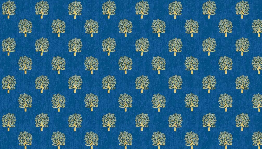 Makower - Rhapsody Trees Blue - 2180/B