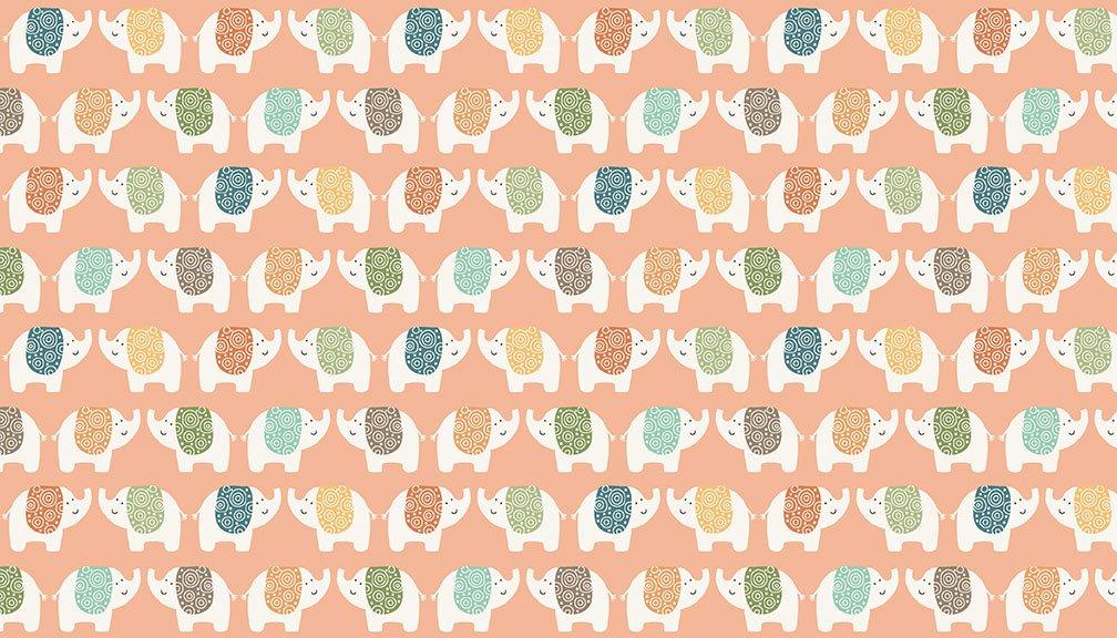 Makower - Jungle Friends Elephants Pink - 2198/P