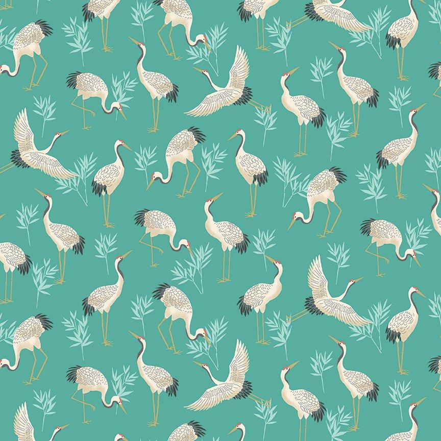 Makower - Michiko Cranes Turq - 2331/T