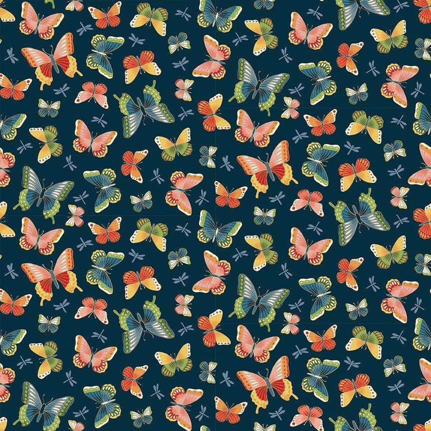 Makower - Michiko Butterflies Blue 2334/B