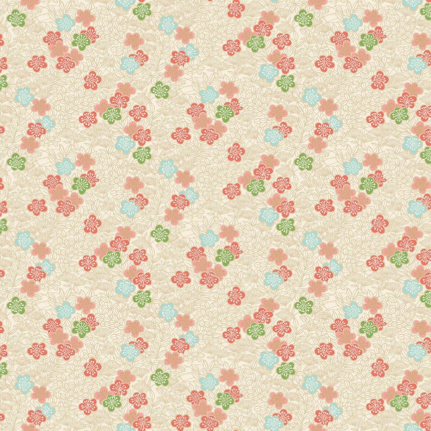 Makower - Michiko Bushclover Cream 2336/Q