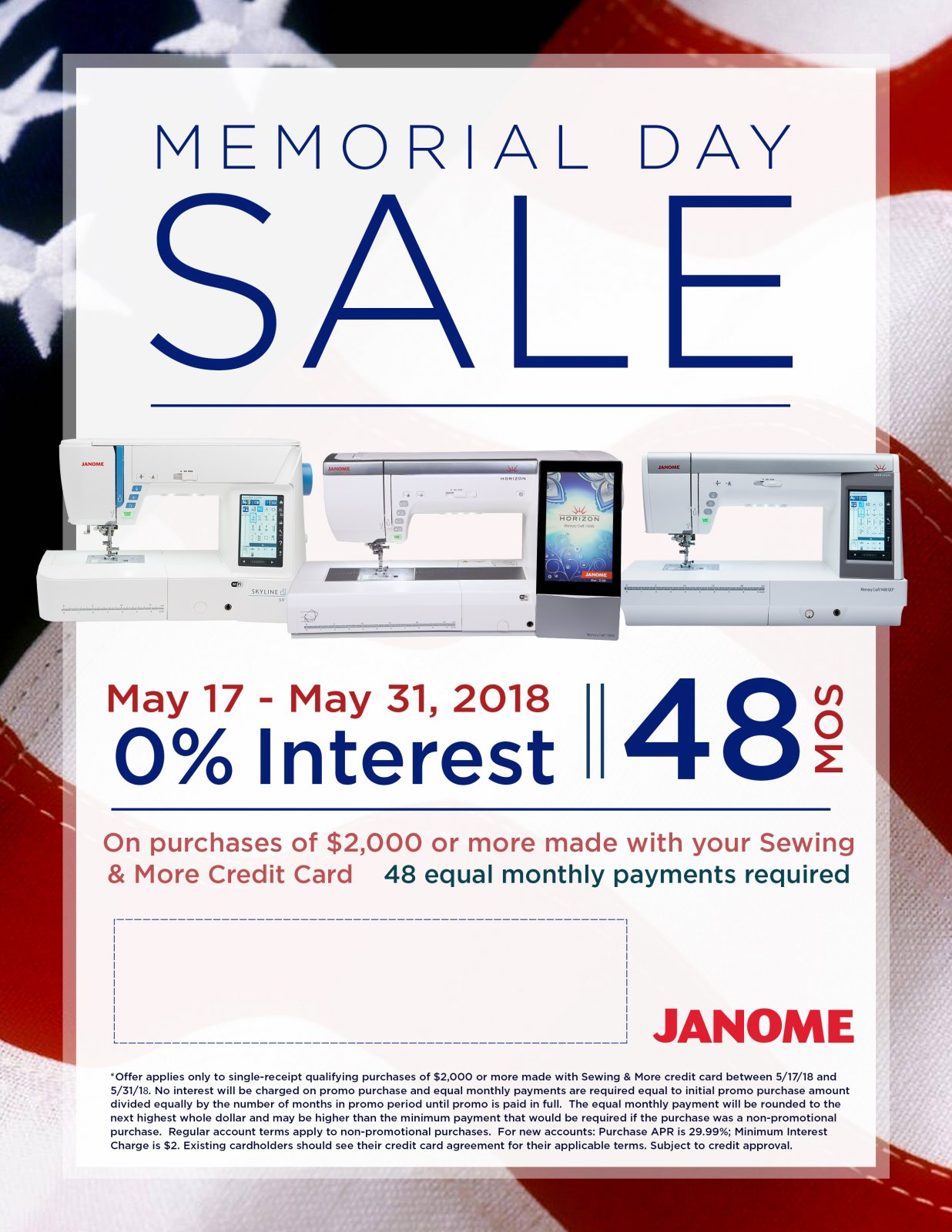 Janome Memorial Day Sale