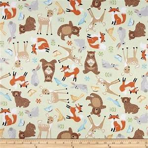 Sweet Meadow Flannel mint/animals