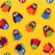 What A Hoot Flannel yellow scattered owls