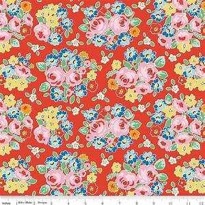 Bluebirds on Roses - Large Floral on Red