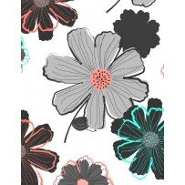 Mod About You Black Gray Flowers