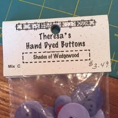Theresa's Hand Dyed Buttons Shades of Wedgewood
