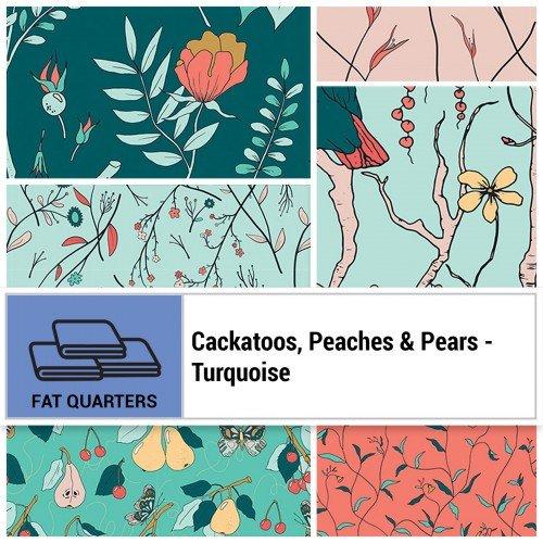 Cockatoos, Peaches, & Pears FQ Bundle - Turquoise