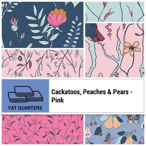 Cockatoos, Peaches, & Pears FQ Bundle -  Pink