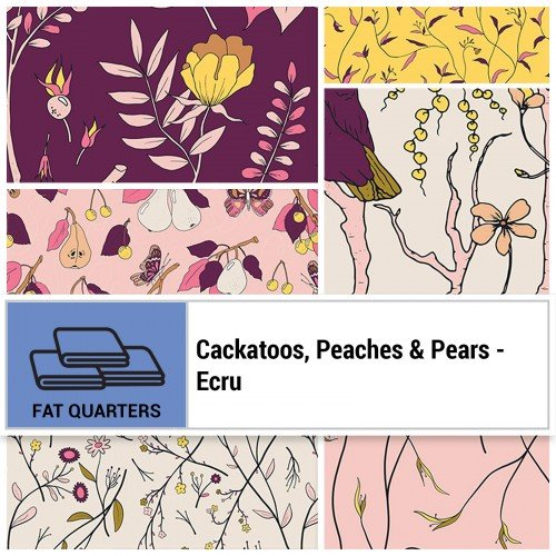 Cockatoos, Peaches, & Pears FQ Bundle -  Ecru
