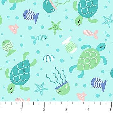 Mermaid Kitties - Sea Creatures on Lt Aqua