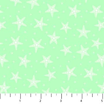 Mermaid Kitties - Starfish on Lt. Green