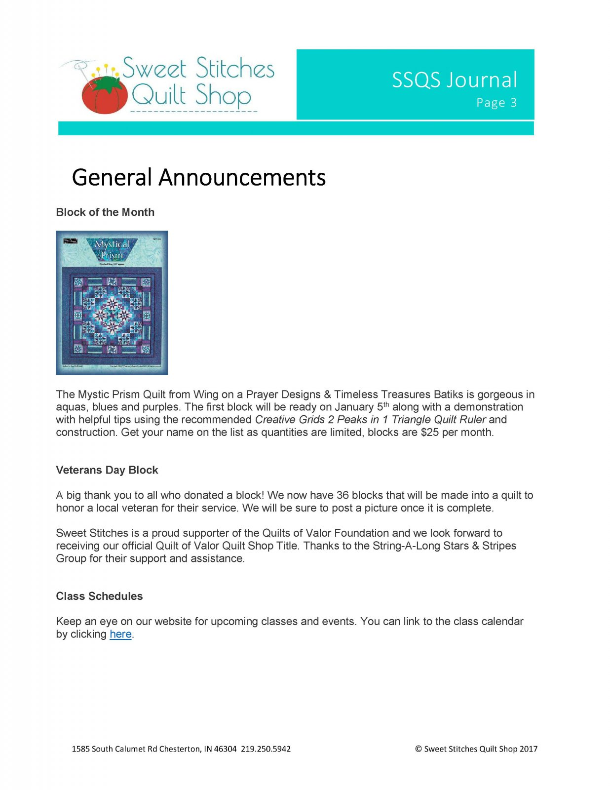 Sweet Stitches Quilt Shop Newsletter Page 3