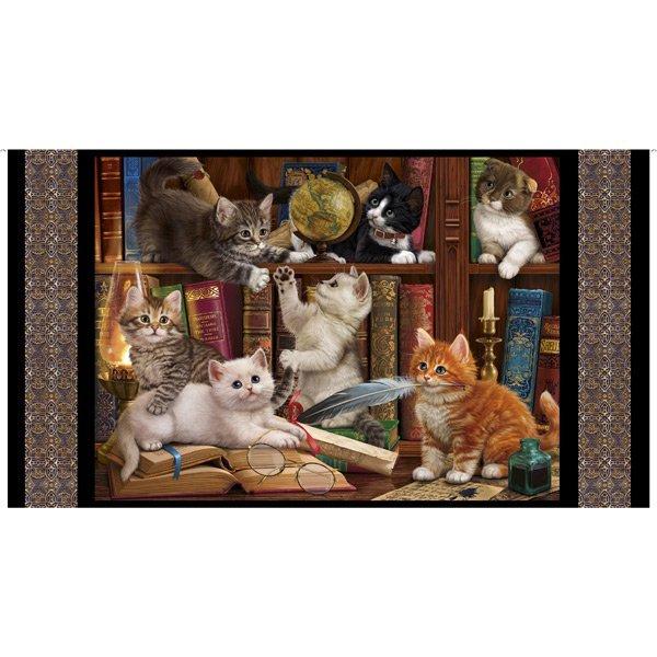 Library Kitties Panel 28235 J Black