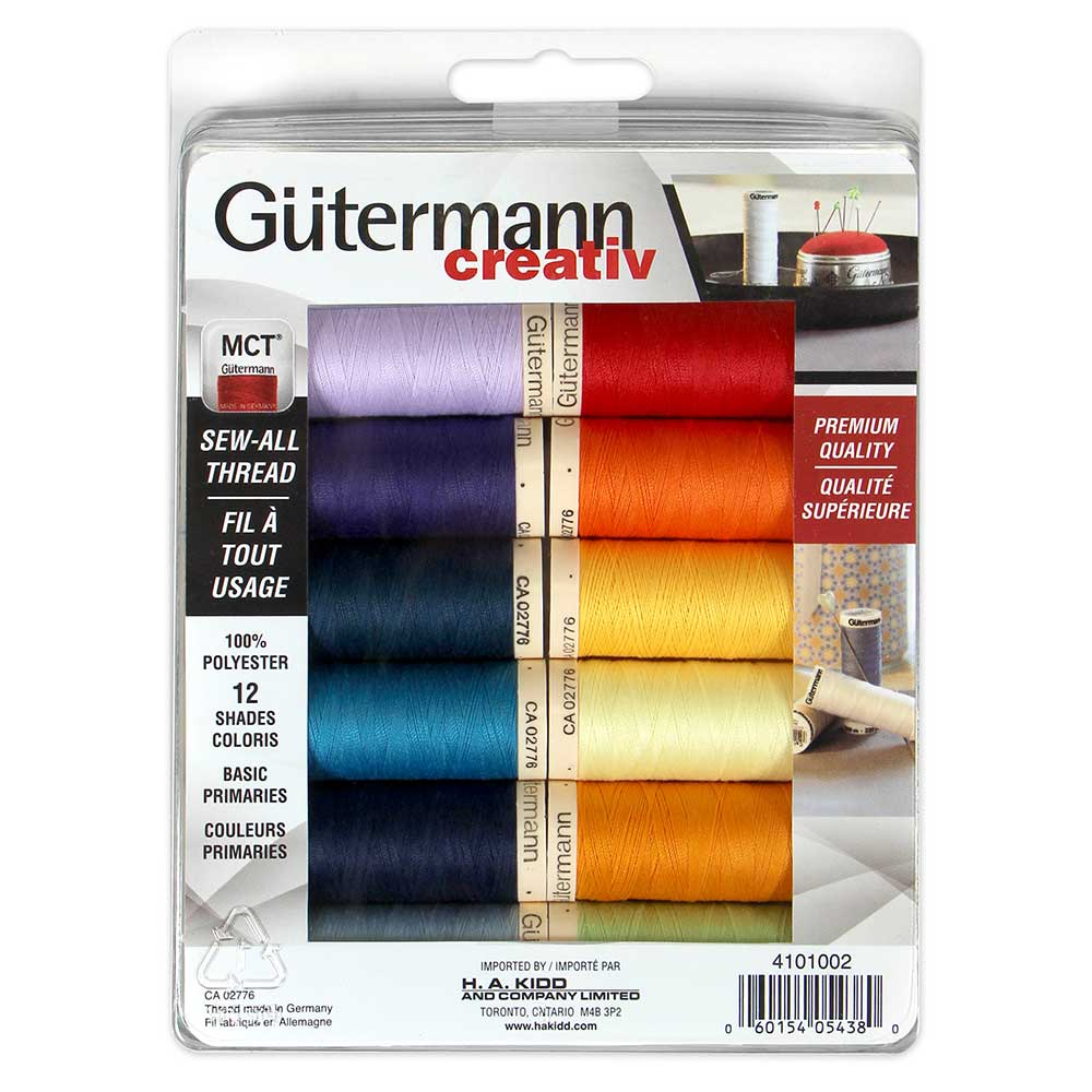 GUTERMANN 12 pc Sew-All 100m Thread Set - Primary Colours