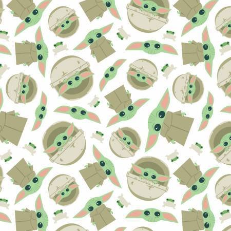 FLANNEL - Baby Yoda Fabric Child and Frog Toss 73800234B 01 White