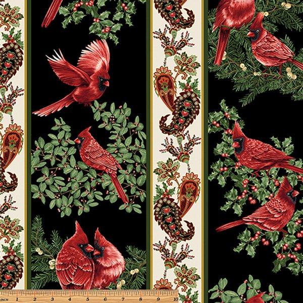 A Winter Sale Fabric - A Festive Season, Black Stripe