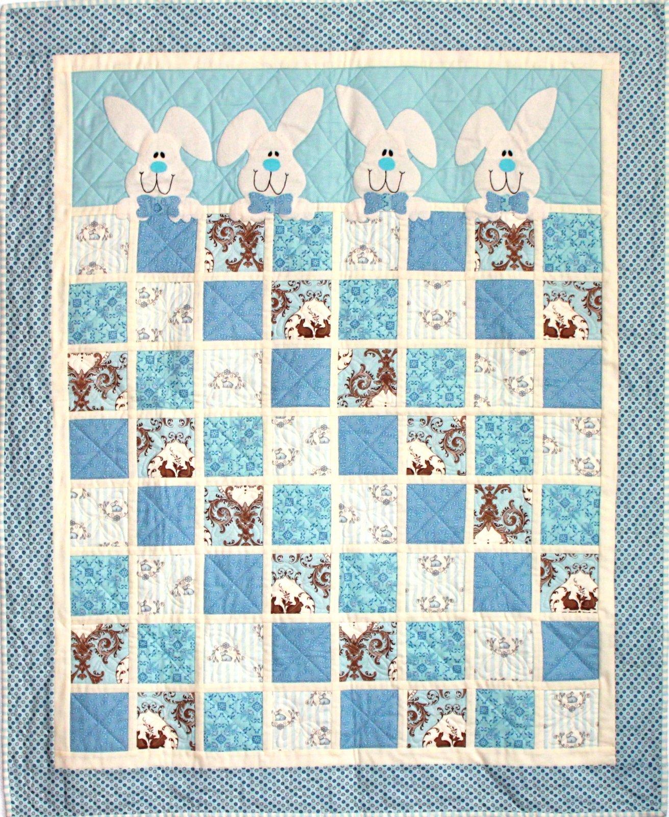 Bunnies - Bunny Hugs Quilt Kit, Blue version