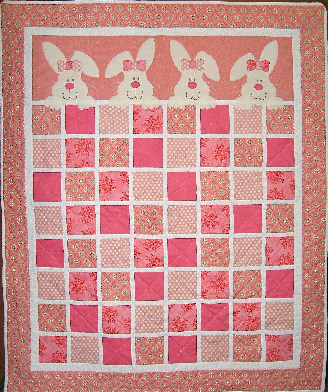 Bunnies - Bunny Hugs Quilt Kit, Pink version