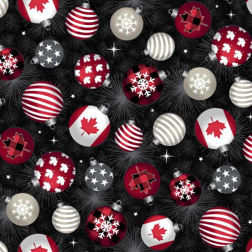 Canadian Christmas Ornaments Canadian Fabric by Windham