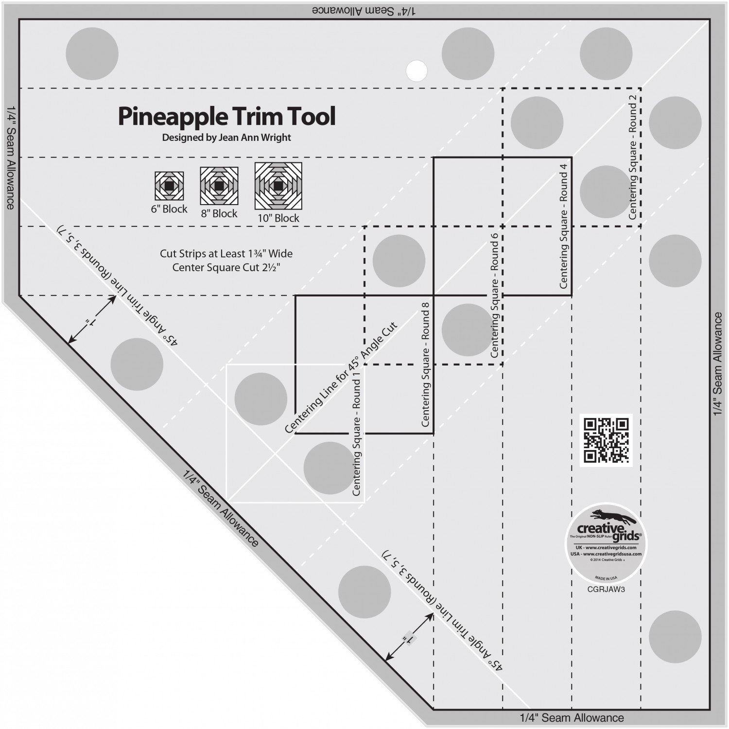 Creative Grids Pineapple Trim Tool for 6, 8 or 10in Finished Blocks Quilt Ruler