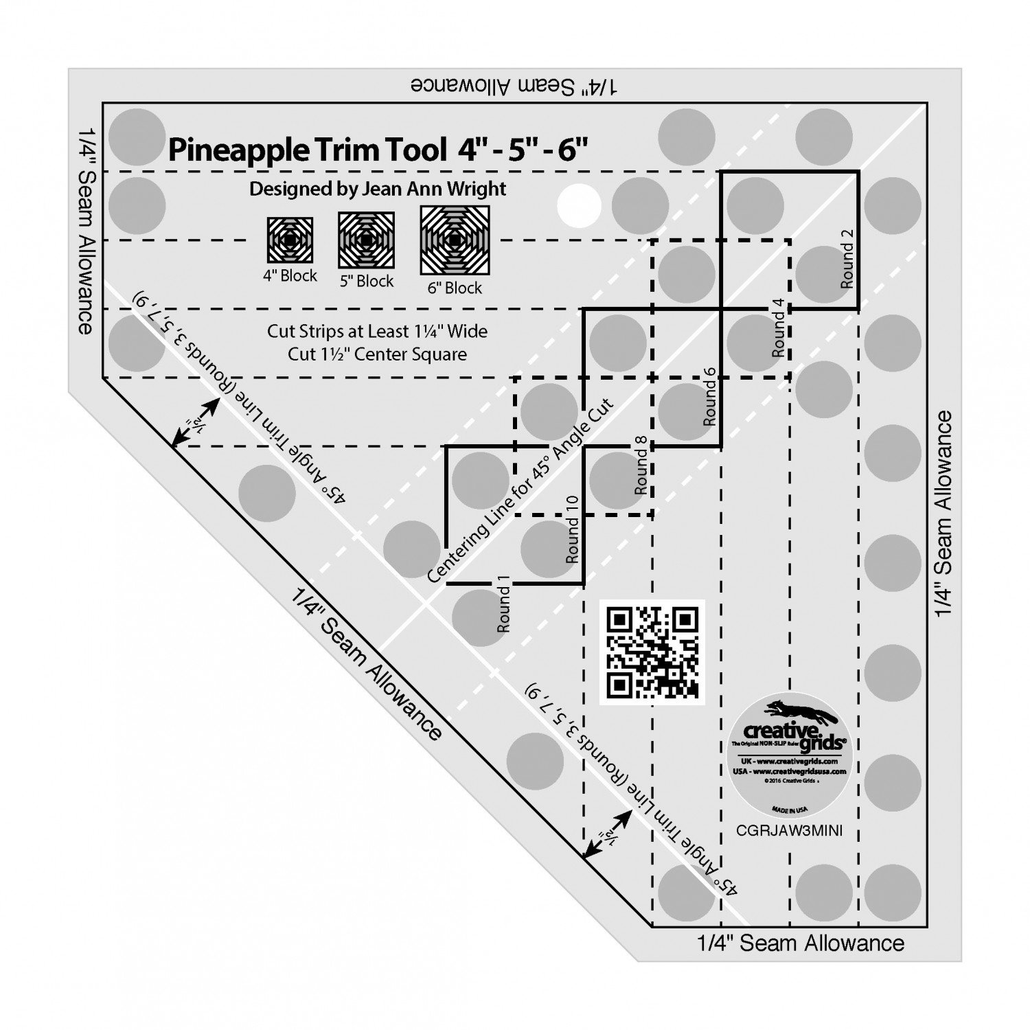Creative Grids Pineapple Trim Tool Mini Quilt Ruler
