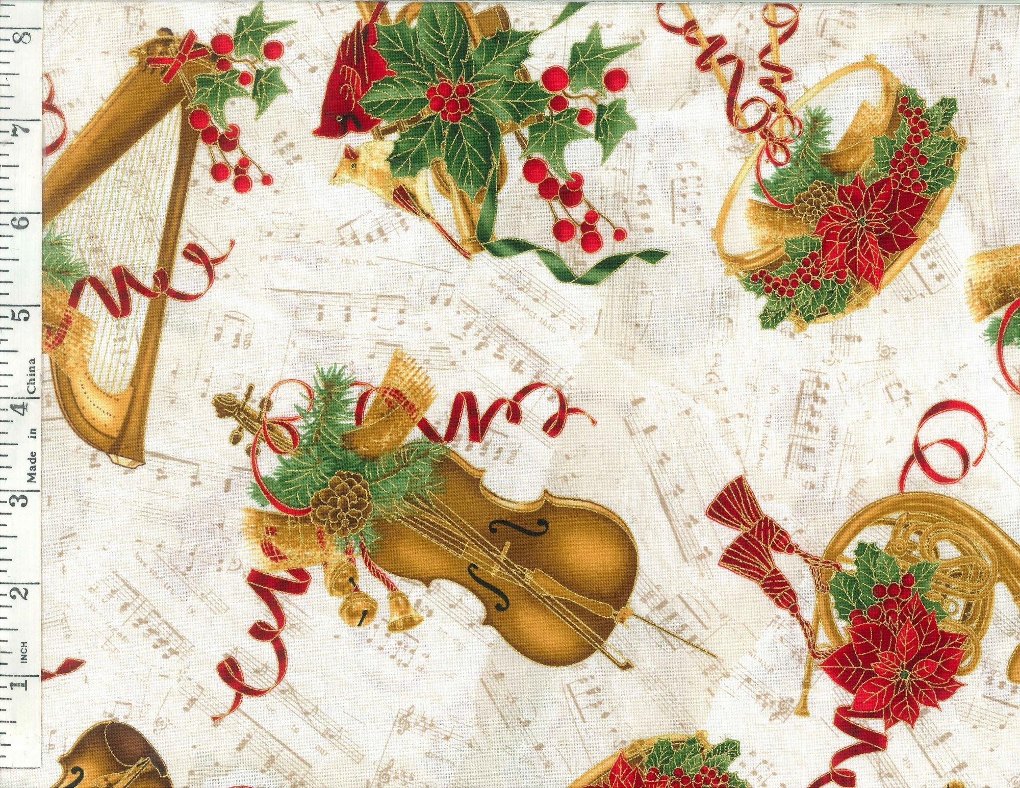 A Winter Sale Fabric - Christmas Music White