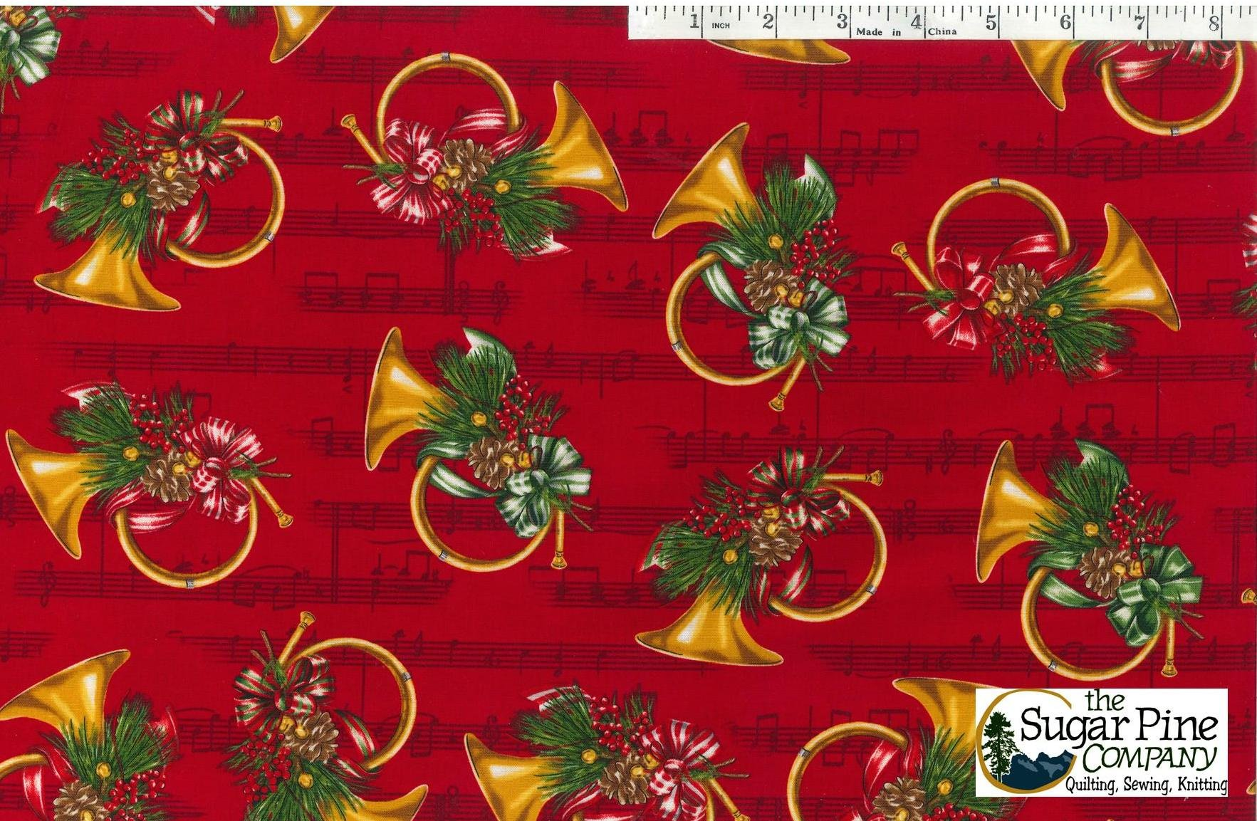 A Winter Sale Fabric - Christmas Orchestra Red
