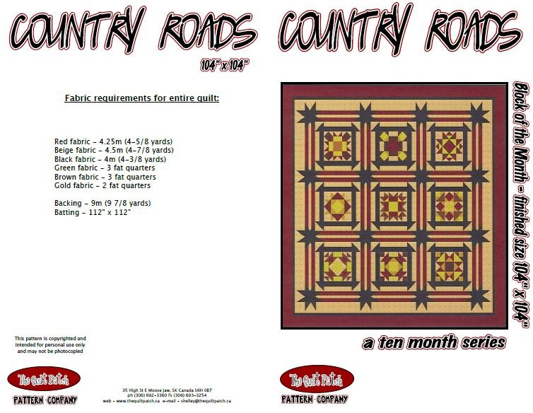 Block of the Month, COUNTRY ROADS