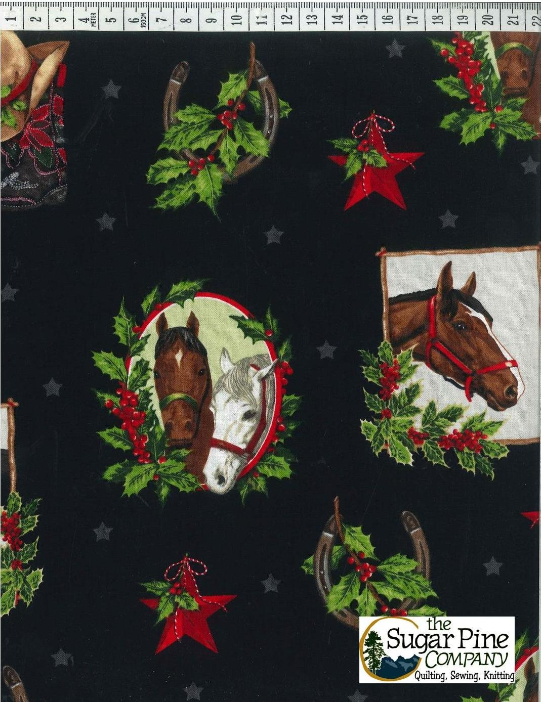 A Winter Sale Fabric - Cowtown Christmas Horses, Black