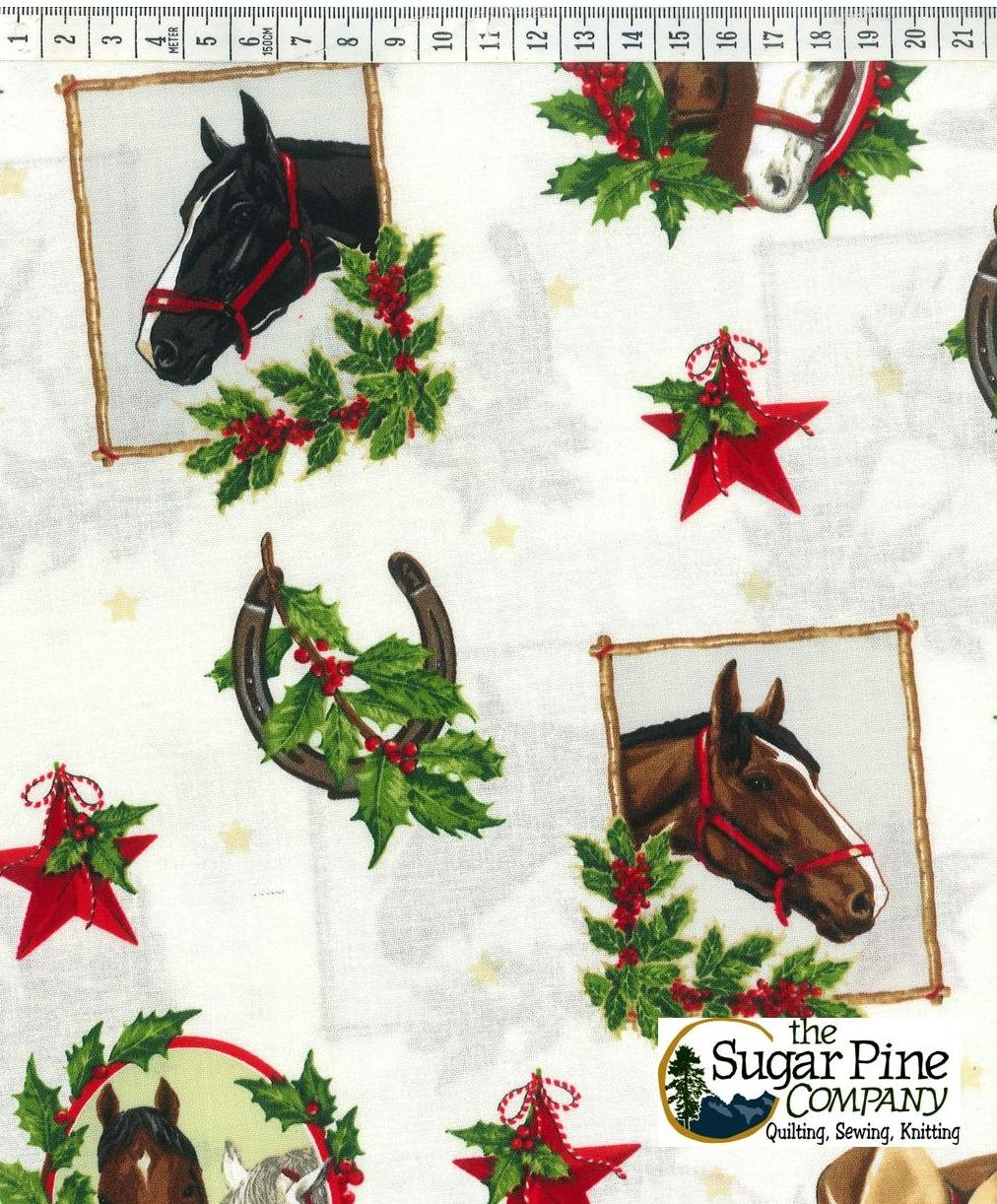 A Winter Sale Fabric - Cowtown Christmas Horses, White