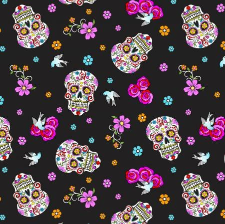 Folkloric Skulls Day of the Dead with Glitter- Black DT-5195-7C-1