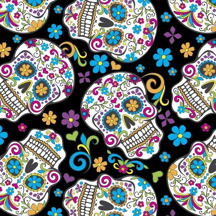 Folkloric Skulls Cotton Print - Black