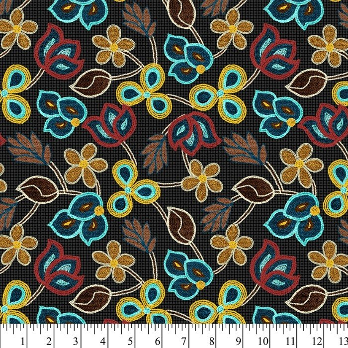 Embroidered Flowers DX-2359-0C Black