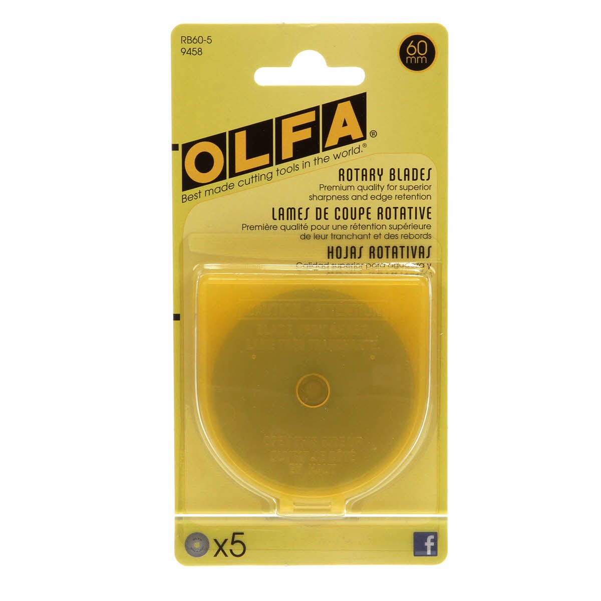OLFA 60mm Rotary Blades - 5 pack