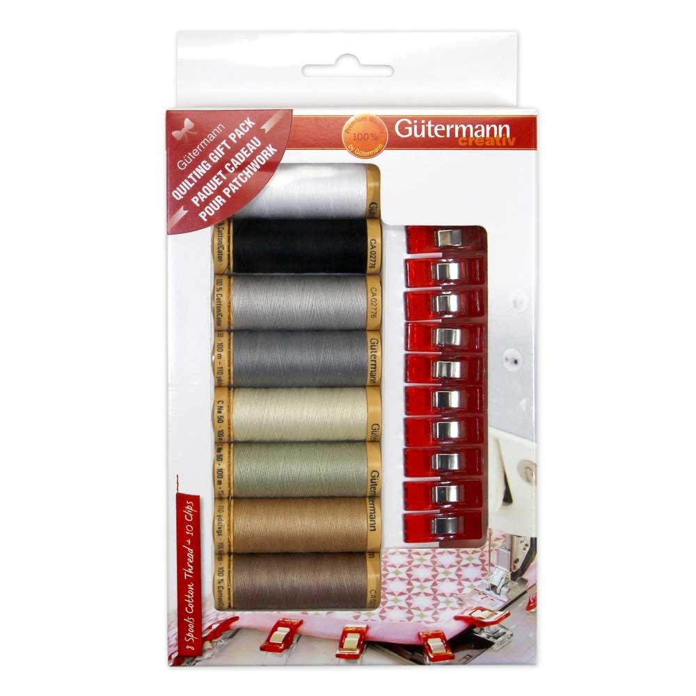 GUTERMANN 8 pc Mercerized Cotton Thread 100m Thread Set + 10 Clips